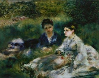 Pierre Auguste Renoir: Two Women in the Grass. Fine Art Print/Poster. (004264)