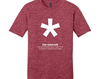 Asterisk Punctuation English Teacher Men's Grammar Shirt Gifts for Teachers Unique Mens Shirt Cool Funny T Shirt Typography Tshirt