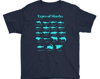 Types Of Sharks Youth Kids Shark T-Shirt