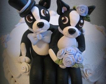 Wedding Cake Topper, Custom Cake Topper, Dog, Boston Terrier Cake Topper, Polymer Clay, Keepsake