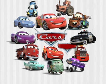 Cars Designs, 15 Cars Images, Disney Cars, Lightning McQueen, Mater, Digital Download in .SVG and .PNG formats, DIY Cars, Cars clip art,