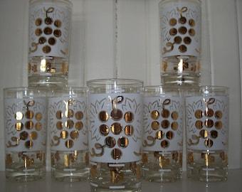 Vintage Set of 8 Grape Leaf Glasses