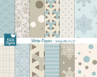 Winter Digital Papers - Digital Scrapbook Papers light blue and warm grey - card design, invitations, paper crafts - INSTANT DOWNLOAD
