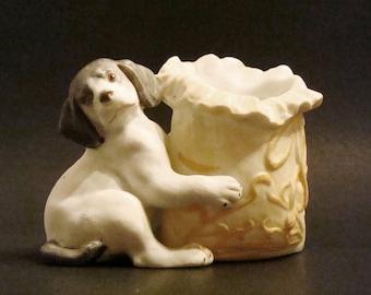 Antique German Bisque Small Vase/Trinket Holder -Dog with Sack c1900