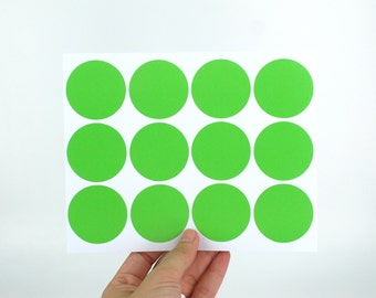 40mm Green Round Stickers - Large sticky labels - Made of matte paper - Great for DIY rubber stamped packaging labels