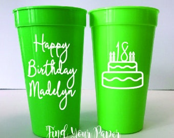 Personalized Party Cups, Personalized Birthday Cups, Party Favor Cups, Custom Birthday, Birthday  Cups, Favors,  Banner Birthday Cups