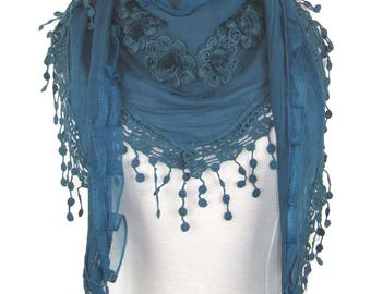 Triangle scarf,shawl or wrap with floral motifs and crochet lace trim - teal - CFOC491