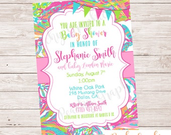Printable Preppy Baby Shower Invitation - Lilly Pulitzer Inspired