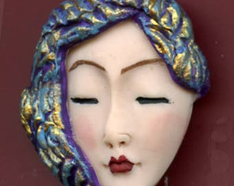 Polymer Clay OOAK   Detailed Asian  Art Doll Face with  Textured Hat Cab  NAH 2