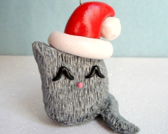 Fluffy Cat Ornament, Polymer Clay Gray Fat Cat Christmas Ornament