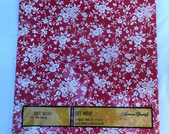 Vintage Gift Wrap Red & White Floral Flowers New Old Stock 2 Sheets Unopened Original Packaging Wrapping Paper For Presents