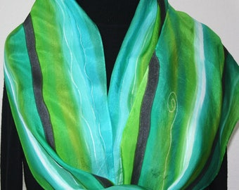 Green, Teal, Turquoise Hand Painted Silk Shawl. IRISH COASTS, in Several SIZES. Handmade Silk Scarf. Anniversary Gift , Mother Gift