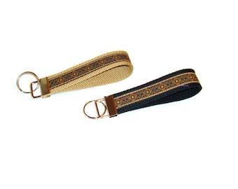 Jaquard Ribbon Key Fob - Black and Tan - Unisex Key Ring - Stocking Stuffer