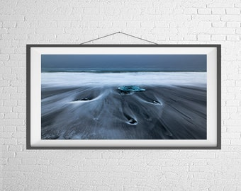 Fine Art Photography Print - Travel, Landscape, Nature, Panorama - Ice in the Waves - Diamond Beach, Iceland
