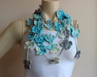 Flower Necklace Scarf-Multicolor Lariat Scarf-Shades of Turquoise Blue and White,Grey Crochet Scarf