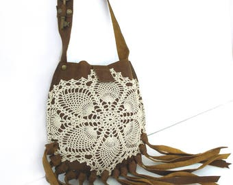 Brown Leather Boho Crossbody Bag with Fringe, Vintage Crochet Lace and Skeleton Key - Boho Festival Phone Purse