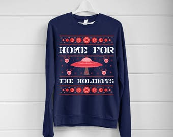 Home For The Holidays Ugly Christmas Sweater- Women's Sweatshirt- Tumblr Inspired