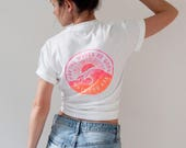 Surf TShirt Neon Pink & Orange White Tee Waves Surfer Girl Gift