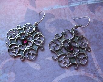 Beautiful Swirls Handmade Amethyst Sterling Earrings