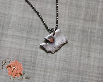 State Necklace, Fine Silver and Sterling Silver with Copper Heart, Precious Metal Clay, Pick Your State