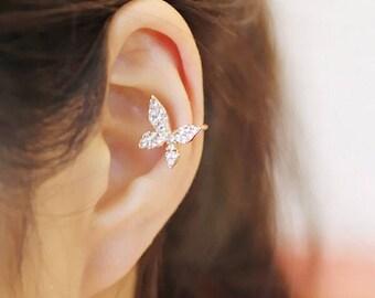 Butterfly Ear Cuff - Butterfly Ear Wrap - Fake Piercing - No Piercing - Non Pierce Ear Cuff - Nature Jewelry - Ear Cuff Jacket