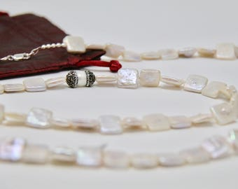 Square Freshwater pearl Rope Necklace. Pearl Rope 40-45inch.