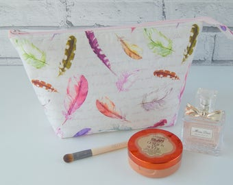 Handmade make up bag, Mother's Day gift, beautiful feather fabric cosmetic bag, wash bag, bridesmaid present, teacher gift,
