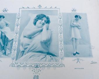 Vintage Antique 1900 French risque adorable women  Cocotte  /recto/verso photography /Belle epoque magazine page