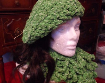 Kelly Green with Sparkles Winter Crochet Scarf and Tam Hat Set