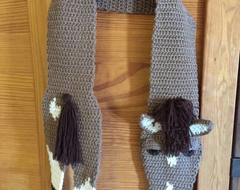 """Crochet Coffee with Cream Colored Horse Scarf 54"""" long"""