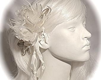 Silk Bridal Hairpiece White Feather & Pearl Bridal Headpiece Wedding Accessories B-125