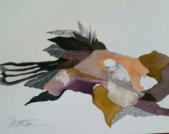 """Feather Song Series  """"Fissures and Feathers"""" one of a kind watercolor."""