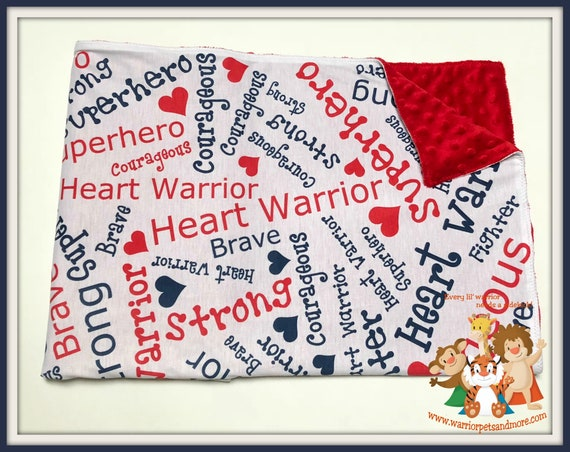 Heart Warrior, Minky Blanket, superhero, fighter, courageous, brave, strong,