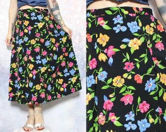 90s Floral Skirt Black Skirt Grunge Skirt Hippie Skirt Hipster Skirt Boho Skirt Long Skirt High Waisted Prairie Skirt Size S/M