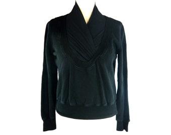 DIRK VAN SAENE black pullover, Sweater with silk collar, The Antwerp Six, Size fr 38 / us 6 / uk 10, Belgian fashion designer, Vintage 1990s
