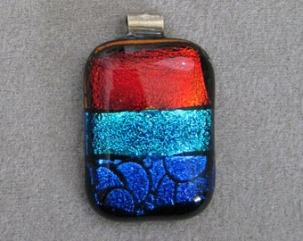 Fused DIchroic Glass & Sterling Silver Pendant - g0520d14