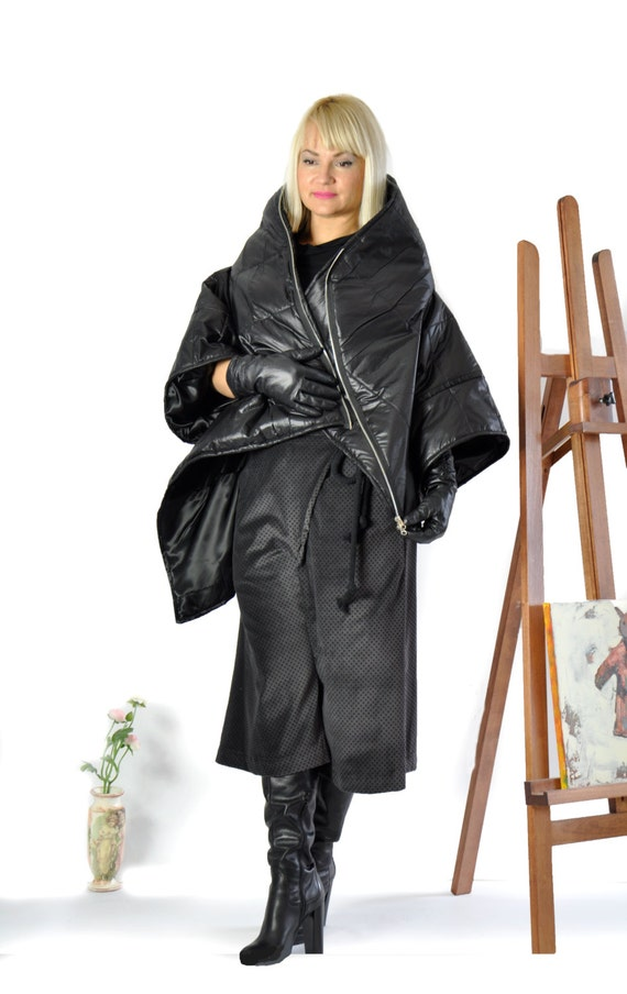 Quilted Coat Extravagant Zipped jacket Warm New Black Coat by Black C0244 GABYGA Winter Coat Asymmetric Winter Windproof Waterproof Woman vCfqwB