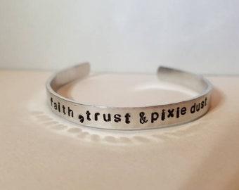 DISNEY // faith trust & pixie dust handstamped bracelet