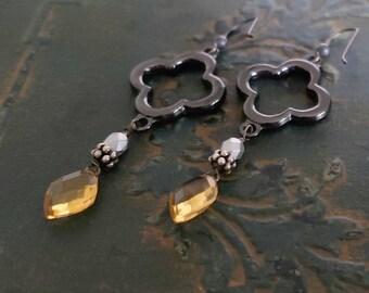 Warm Yellow Citrine Black Earrings, Long Dangle Earrings, Black and Gold, Clover Earrings, Quatrefoil, Dangle Gemstone, Black Silver Gold