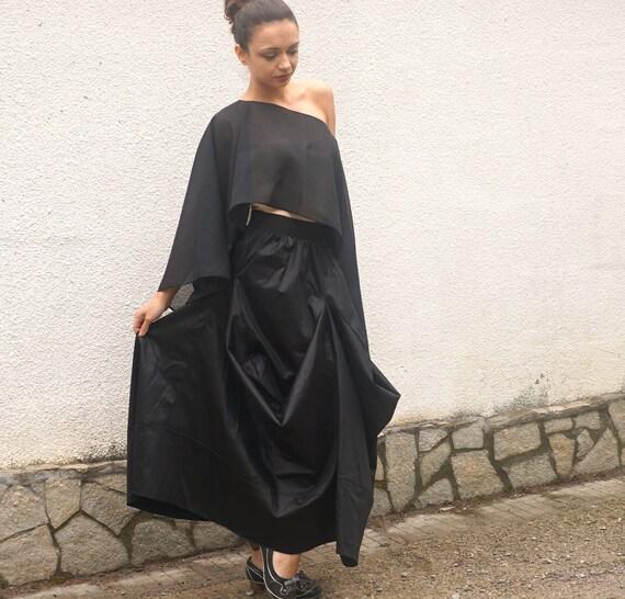 Maxi Black Party Skirt, Elegant Flare Cocktail Skirt, Stylish Princess Skirt, Highwaisted Skirt