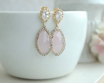 LUX Gold Plated Cubic Zirconia Pink Opal Teardrop Earrings. 925 Ear Post. Bridal Jewelry. Wedding Earring, Pink and Gold Wedding. Blush Pink