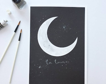 Hand Painted Crescent Moon Personalised Print, Custom, New Baby Gift, Nursery Print, Anniversary Gift, Wedding Gift, Watercolour, Rose Gold