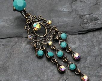 Vintage Boho Chandelier Reverse Belly Button Ring - Brass/Aurora Borealis/Turquoise