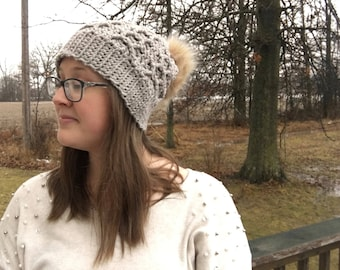 Beige Honeycomb Slouchy Crochet Beanie with Faux Fur Pompom Adult Woman