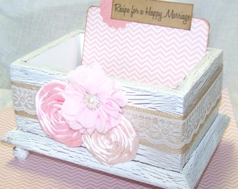 GUEST Book Box, Advice Box, Light Pink, Blush, Burlap, Rustic Wedding, Shabby Chic Bridal Shower, White Box