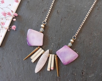 Lilac necklace Statement necklace purple Modern jewelry Light purple necklace Jade necklace Unique necklaces for women Spike jewelry