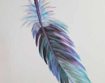 Hand painted Eagle feather acrylic