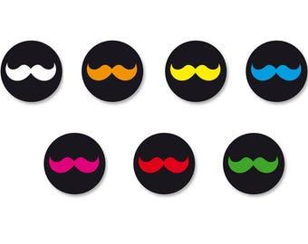 Lot Pins Ø25mm - o38mm Pinback Button Badge / Magnet o38mm symbol Moustache Mustache Hipster Vintage
