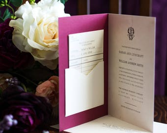 Literary Wedding Invitations - Book Wedding Invitation - Library Wedding - Library Card RSVP - Card Catalog  - A Love Story #00097-KUS