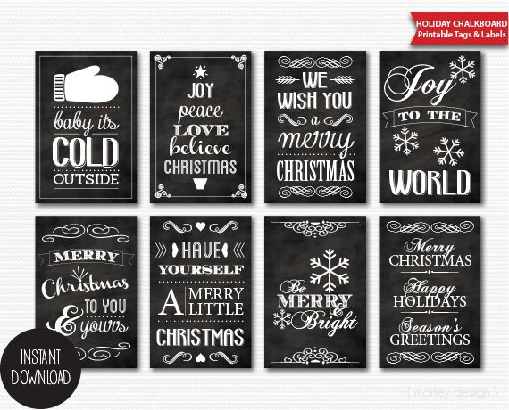 Printable chalkboard christmas tags instant download digital solutioingenieria Images